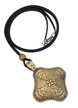 Longer Length Lagenlook Large Rhombus Pendant Necklace in Antique Gold