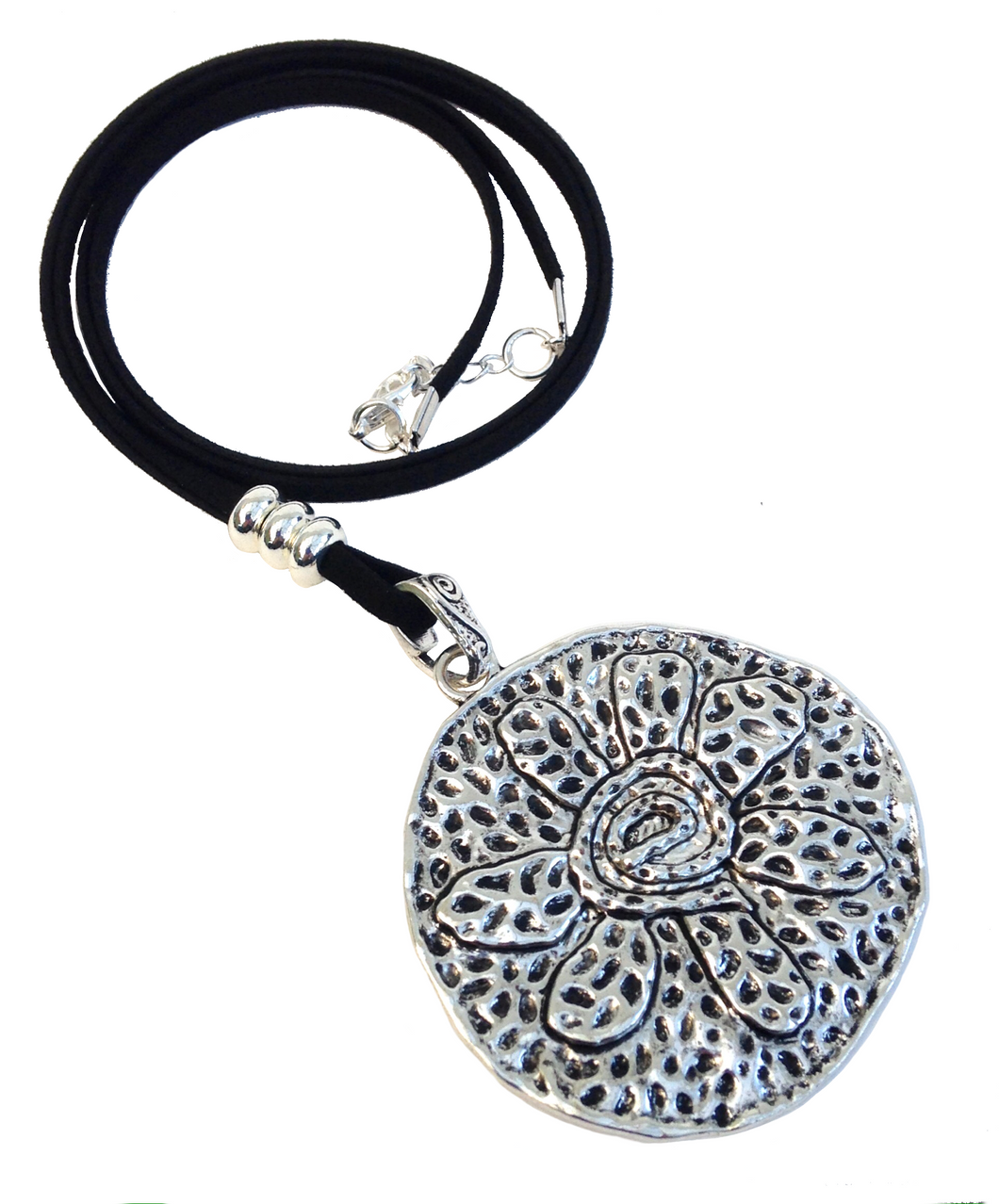 Longer Length Lagenlook Large Round Flower Pendant Necklace in Antique Silver