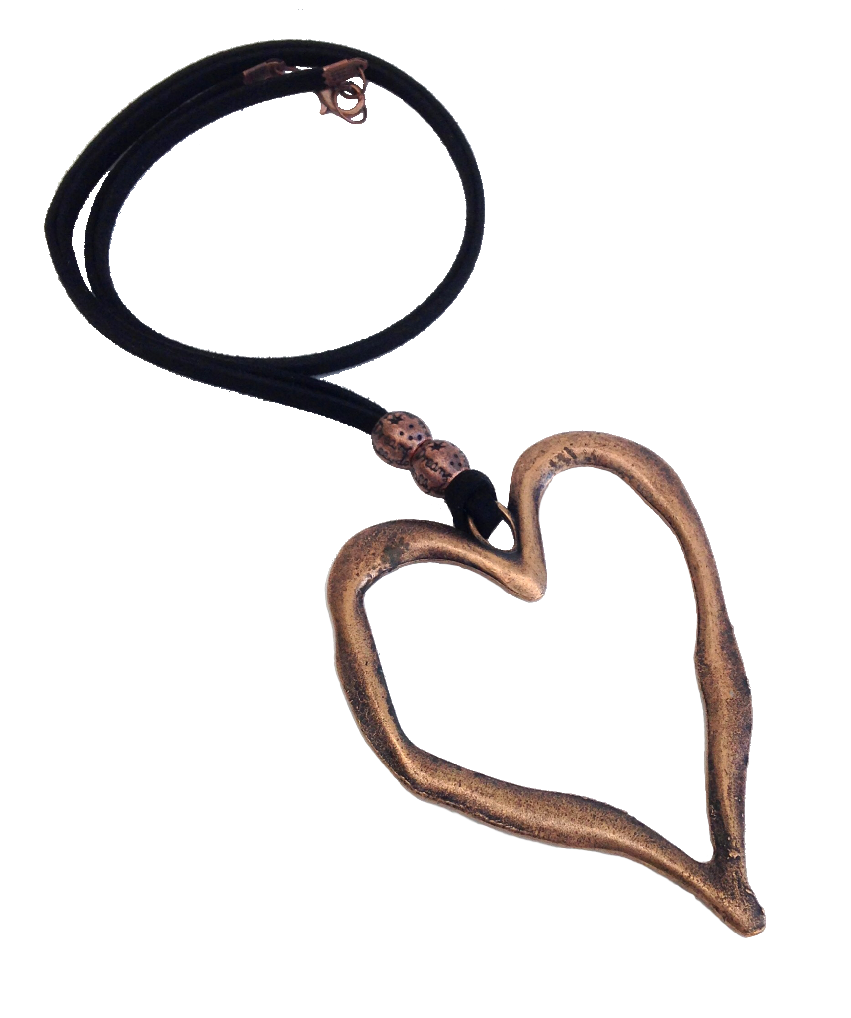 850cfea18b5c Longer Length Lagenlook Statement Heart Pendant Necklace in Red Copper