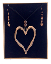 Large Statement Heart Pendant Necklace & Earring Set in Red Copper
