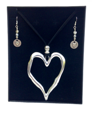 Large Heart Lagenlook Pendant Necklace & Earring Set in Antique Silver