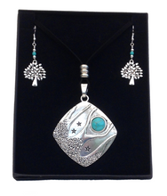 Large Tibetan Silver Turquoise Tree Pendant Necklace & Earring Set