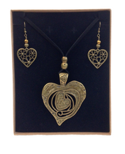 Large Heart Lagenlook Pendant Necklace & Earring Set in Antique Bronze