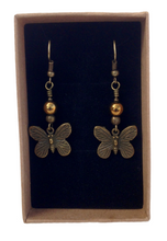 Lagenlook Antique Bronze Butterfly Earrings Choice of Hematite Beads
