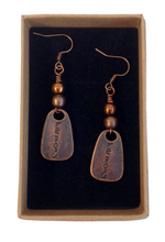 Lagenlook Abstract 'Harmony' Earrings in Red Copper