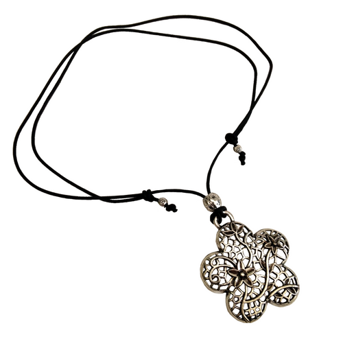 Short to Mid Length Flower Pendant Necklace in Antique Silver