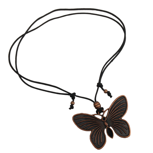 Short to Mid Length Solid Butterfly Pendant Necklace in Red Copper