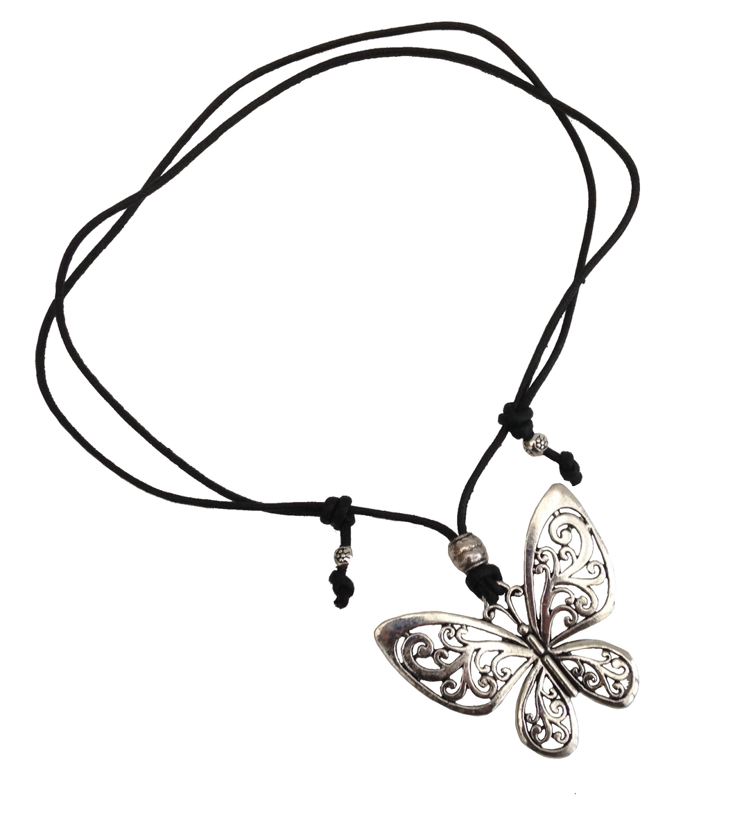 Short to Mid Length Butterfly Pendant Necklace in Antique Silver