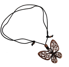 Short to Mid Length Butterfly Pendant Necklace in Red Copper