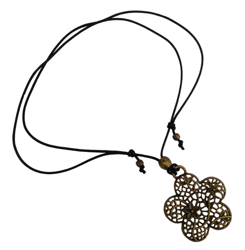 Short to Mid Length Flower Pendant Necklace in Antique Bronze