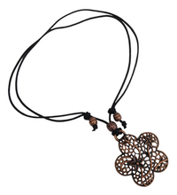 Short to Mid Length Flower Pendant Necklace in Red Copper