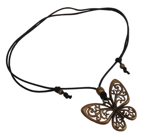 Short to Mid Length Butterfly Pendant Necklace in Antique Bronze