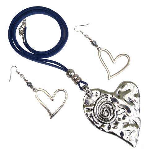 Large Lagenlook Statement Heart Spiral Pendant Necklace & Earring Set in Antique Silver
