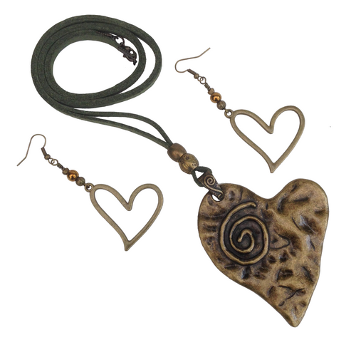 Large Statement Heart Spiral Lagenlook Pendant Necklace & Earring Set in Antique Bronze