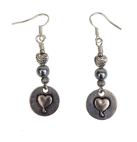Lagenlook Heart  Stamp Earrings in Antique Silver