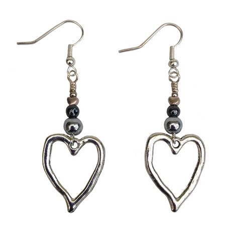 Lagenlook Silver Heart Shaped Earrings