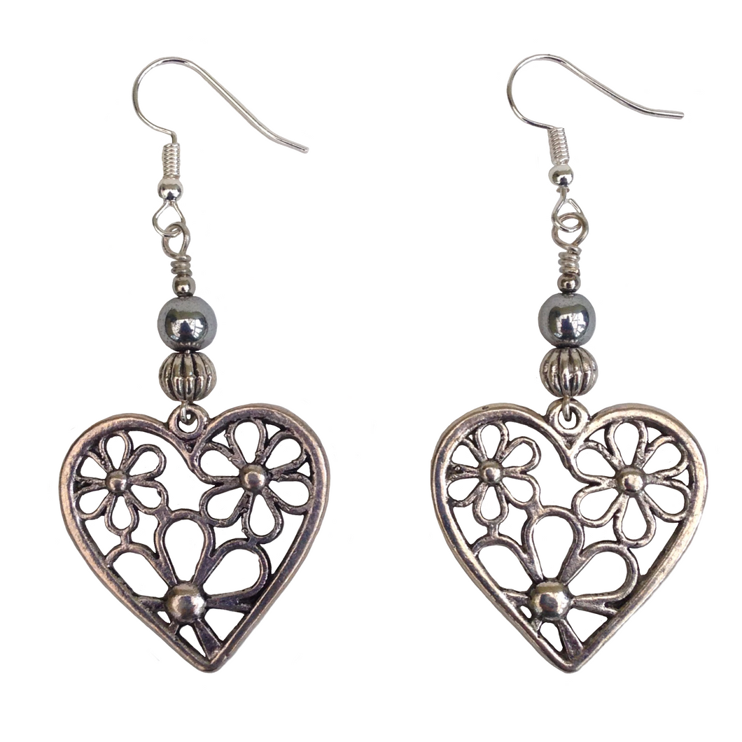 Lagenlook Flower Heart Earrings in Antique Silver