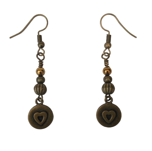 Lagenlook Round Earrings with Heart in Antique Bronze
