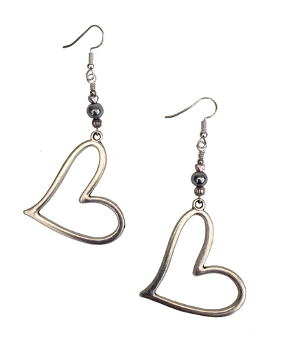 Lagenlook Large Statement Heart Dangle Earrings in Silver