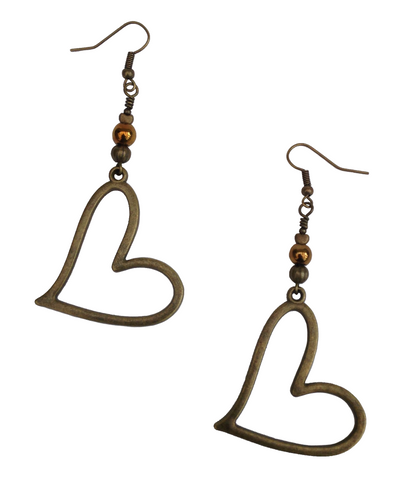 Lagenlook Large Statement Heart Dangle Earrings in Antique Bronze