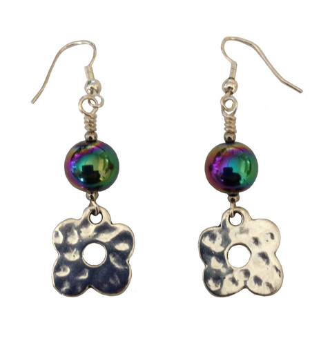 Lagenlook Stylised Flower Earrings in Silver Choice of Hematite Beads