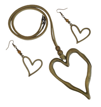 Large Statement Heart Pendant Necklace & Earring Set in Antique Bronze