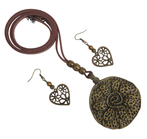 Large Round Flower Lagenlook Pendant Necklace & Earring Set in Antique Bronze