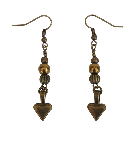 Lagenlook Small Heart Dangle Earrings in Antique Bronze