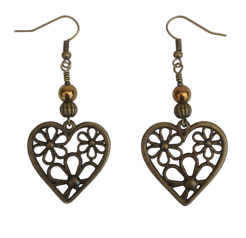 Lagenlook Flower Heart Earrings in Antique Bronze