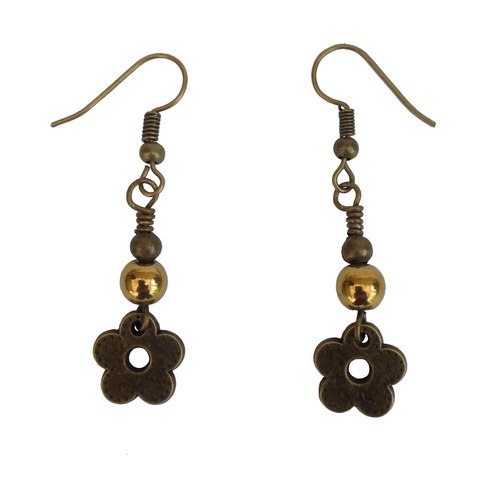 Lagenlook Stylised Flower Earrings in Antique Bronze