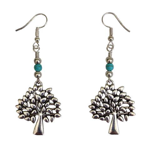 Lagenlook Tree Earrings in Antique Silver & Turquoise
