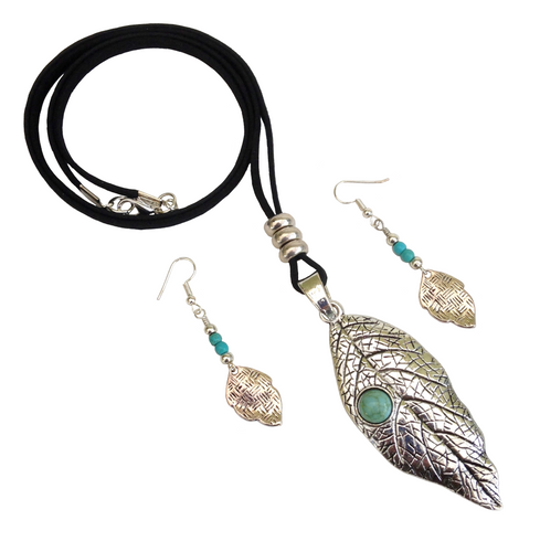 Large Tibetan Silver Turquoise Leaf Lagenlook Pendant Necklace & Earring Set