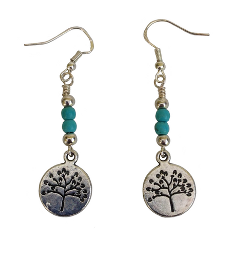 Lagenlook Small Tree Earrings in Antique Silver