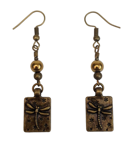 Lagenlook Rectangle Antique Bronze Dragonfly Earrings with Choice of Hematite Beads