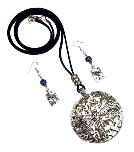 Large Dragonfly Round Pendant Necklace & Earring Set in Antique Silver