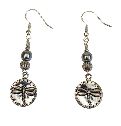 Lagenlook Round Antique Silver Dragonfly Earrings Choice of Hematite Beads