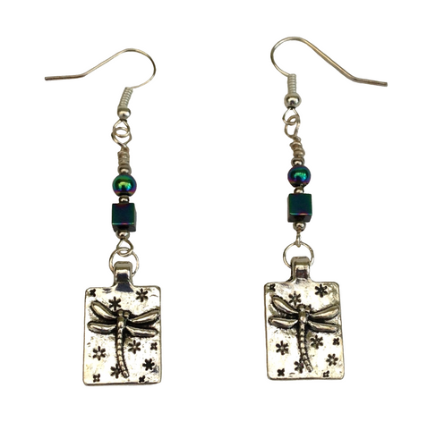 Lagenlook Rectangle Antique Silver Dragonfly Earrings Choice of Hematite Beads
