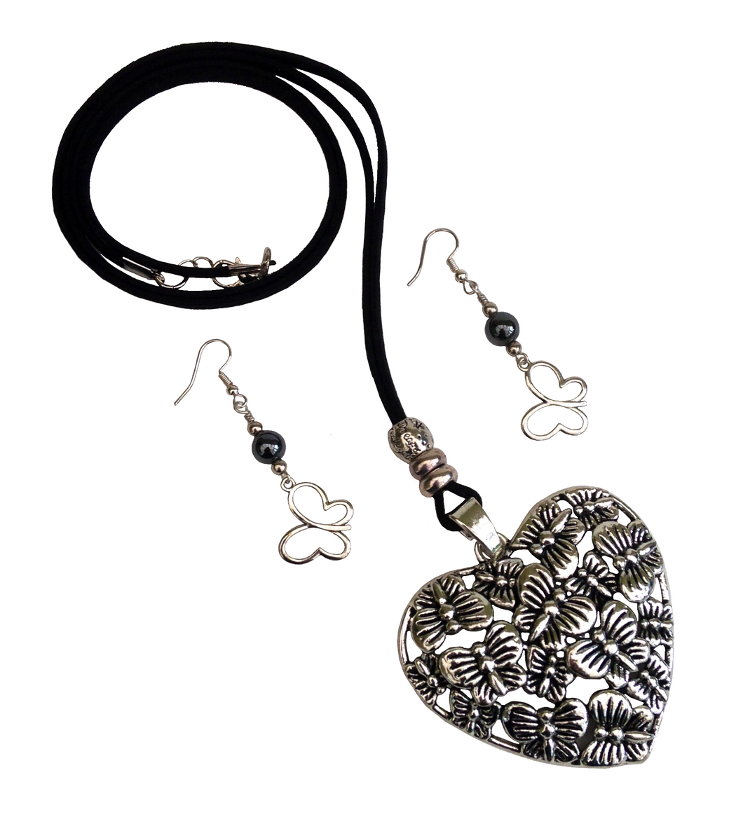 Large Lagenlook Heart Butterfly Pendant Necklace & Earring Set in Antique Silver