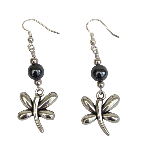 Lagenlook Dragonfly Dangle Earrings in Antique Silver with Choice of Hematite Beads