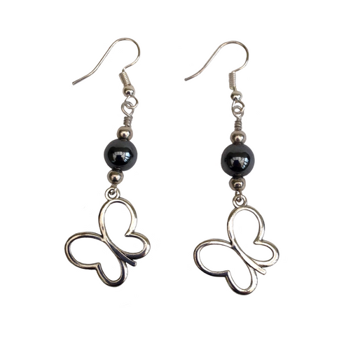 Lagenlook Butterfly Dangle Earrings in Silver Choice of Hematite Beads