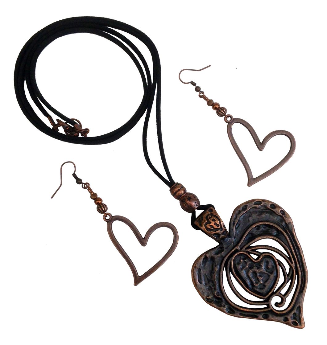 Large Heart Lagenlook Pendant Necklace & Earring Set in Red Copper