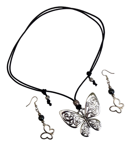 Short to Mid Length Butterfly Pendant Necklace & Earring Set in Antique Silver