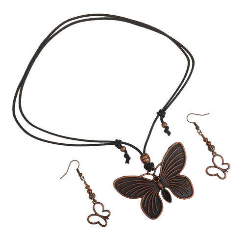 Short to Mid Length Solid Butterfly Pendant Necklace & Earring Set in Red Copper