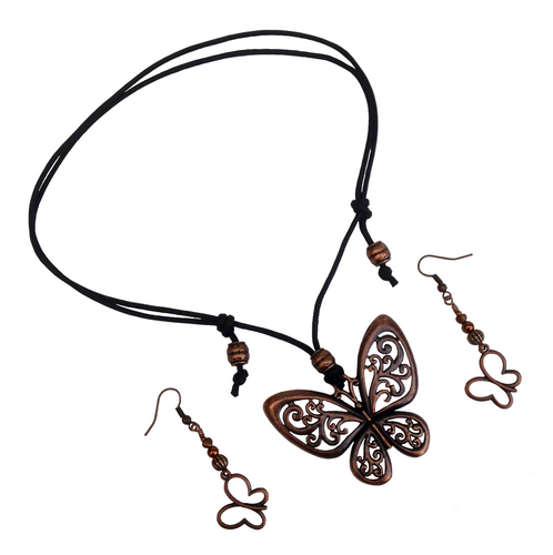 Short to Mid Length Butterfly Pendant Necklace & Earring Set in Red Copper