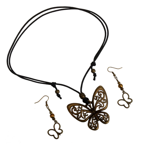 Short to Mid Length Butterfly Pendant Necklace & Earring Set in Antique Bronze