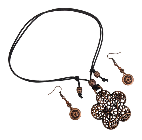 Short to Mid Length Flower Pendant Necklace & Earring Set in Red Copper