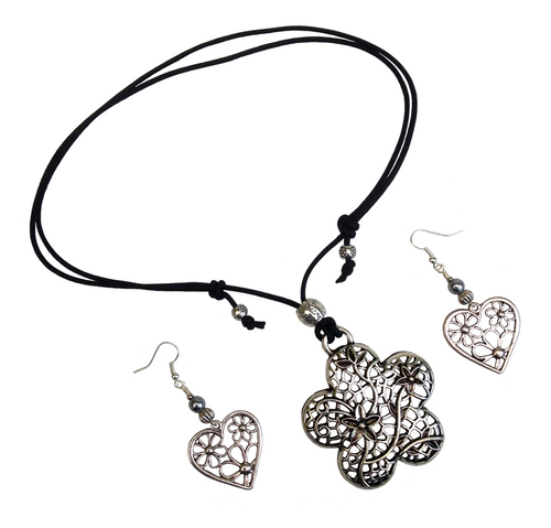 Short to Mid Length Flower Pendant Necklace & Earring Set in Antique Silver