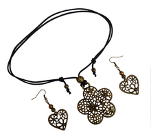 Short to Mid Length Flower Pendant Necklace & Earring Set in Antique Bronze