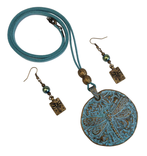 Large Dragonfly Round Pendant Necklace & Earring Set in Verdigris Bronze