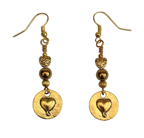 Lagenlook Heart  Stamp Earrings in Antique Gold